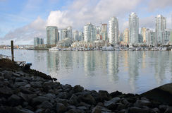 False Creek Shorefront and Downtown Vancouver Stock Photos