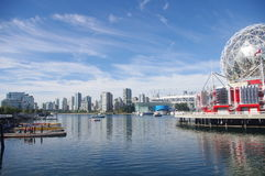 False Creek. A short inlet in Vancouver with view of BC Place, former Olympic Village, and new Science World . Canada stock photo