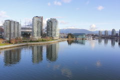 False Creek, Vancouver. Looking northeast on the Cambie Street Bridge to downtown Vancouver Royalty Free Stock Photos