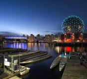 FALSE CREEK, VANCOUVER. BC Place Stadium & Telus World Of Science light up at night reflecting onto False Creek Royalty Free Stock Photos