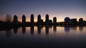 False Creek Vancouver Skyline, Winter-Sonnenaufgang stock footage