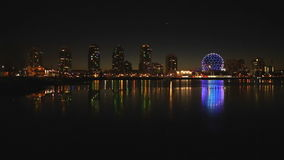 False Creek Winter Twilight, Vancouver Morning. Twilight view of the Vancouver skyline on the edge of False Creek including condominium towers and the geodesic stock video footage