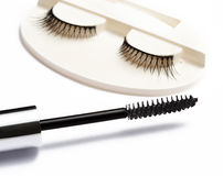 False eyelash set and mascara brush on white background Royalty Free Stock Images