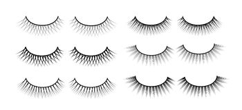 False eyelashes. Fake the cilia. A collection of six sets. Stock Photography