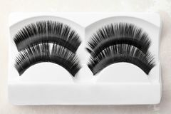 False eyelashes in pack. Closeup Royalty Free Stock Photos