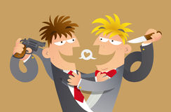 False friends. Cartoon illustration of concept of false friends. Two mens make a hug to pretend friends, meanwhile they point a weapon to other's back Stock Photo