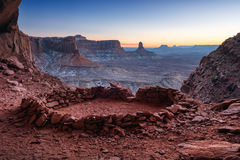 False Kiva at Dusk. False Kiva Ancient Ruin in, Canyonlands National Park, Utah royalty free stock photos