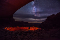 False Kiva and a Milky way Island in the Sky. False kiva with beautiful Milky Way Clear Night Sky Canyonlands National Park Moab Utah western landscape United royalty free stock images