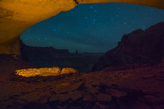 False Kiva at Night with starry sky. Anasazi Indian Ruins At False Kiva, Canyonlands stock image