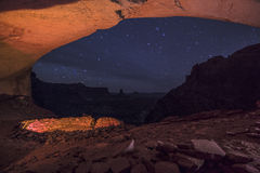 False Kiva at Night with starry sky. Anasazi Indian Ruins At False Kiva, Canyonlands royalty free stock photo