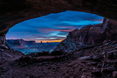 False Kiva after Sunset. Vibrant Sunset Colors view from the inside of the False Kiva Canyonlands National Park Moab Utah United States Landscape USA royalty free stock photography