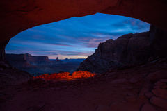 False Kiva after Sunset. Vibrant Sunset Colors view from the inside of the False Kiva Canyonlands National Park Moab Utah United States Landscape USA Royalty Free Stock Photos