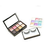 False lashes and cosmetic eyeshadow palette makeup set isolated Stock Images