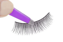 False lashes and pink pincers Stock Photo