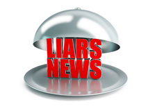 False news on a silver platter. On a white background Stock Photo