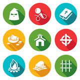 False religion, sect Icons Set. Vector Royalty Free Stock Photo