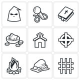 False religion, sect icons. Vector Illustration. Royalty Free Stock Images