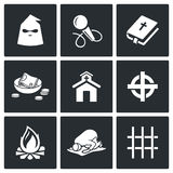 False religion, sect icons. Vector Illustration. Royalty Free Stock Photo