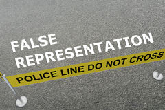 False Representation concept. 3D illustration of FALSE REPRESENTATION title on the ground in a police arena Stock Photos