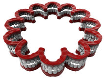 False teeth circular array. 3D render illustration of multiple false teeth prosthetic elements arranged in a circular array. The whole composition is isolated on Royalty Free Stock Photos