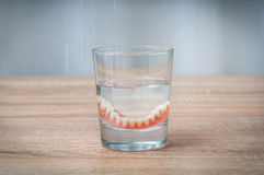 False teeth swim in transparent water glass Royalty Free Stock Photo