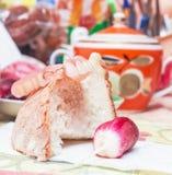 False teeth, white bread and radishes. Original false teeth, white bread and radishes Stock Photo