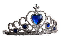 False tiara with diamonds and blue gem Stock Photo