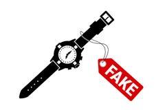 Falsificación y reloj lujoso de la falsificación Fotografía de archivo libre de regalías