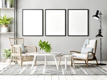 Falsk övre affisch i skandinavisk vardagsrum med garnering arkivbilder