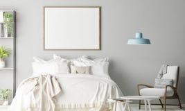 Falsk övre affisch i sovrummet, skandinavisk garnering arkivfoto