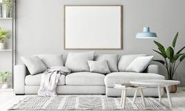 Falsk övre affisch i vardagsrum, skandinavisk garnering, fotografering för bildbyråer