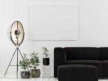 Falsk övre affisch med den mörka soffan, skandinavisk design, royaltyfri fotografi