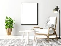 Falsk övre affisch på väggbakgrund, skandinavisk design royaltyfri bild