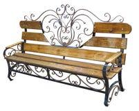 Falsk metallisk och wood bänk som isoleras på vit stock illustrationer