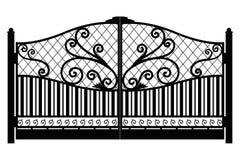 falsk port arkitektur bak den klassiska detaljen pillows sikt Svart falsk j?rnport med dekorativt galler som isoleras p? vit bakg stock illustrationer