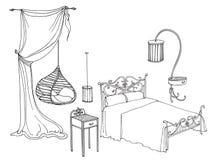 Falsk sänggardin Arkivbild