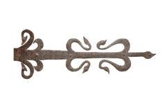 Gammala wrought stryker dörren förser med gångjärn Royaltyfri Bild