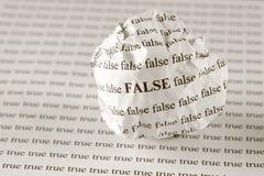 Falso o verdad Fotografía de archivo libre de regalías
