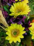 Falsos centros de flores en una boda al aire libre imagenes de archivo