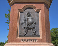 Falstaff on the pedestal of a Statue of William Shakespeare in Tower Grove Park Royalty Free Stock Image