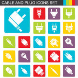 Falt design cable and plug icons set Royalty Free Stock Photos