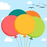 Falt illustration av 5 färgrika ballonger royaltyfri illustrationer