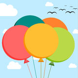 Falt illustration of 5 colorful balloons. On sky background Royalty Free Stock Image