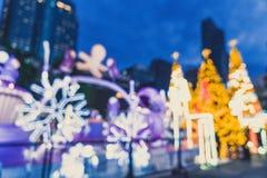 falta de definición abstracta e iluminación defocused en el árbol de navidad en Cristo Foto de archivo