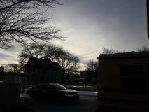Falta de definición de las luces de cielo del invierno foto de archivo