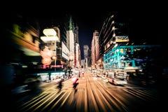 Falta de definición de movimiento moderna de la ciudad Hon Kong Tráfico abstracto del paisaje urbano imagen de archivo