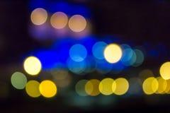 Falta de definición del extracto de la ciudad de la noche Imágenes de archivo libres de regalías