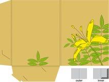 Faltblatt mit gestempelschnitten (Lilienblumen) Stockfotos