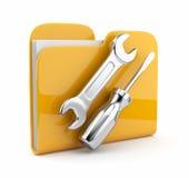 Faltblatt mit Schlüssel und Schraubendreher. Ikone 3D Lizenzfreies Stockbild