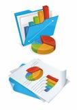 Faltblatt und Papiere mit Diagrammen Lizenzfreie Stockfotos